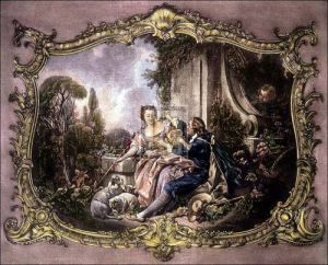 Lovers in a garden by Francois Boucher