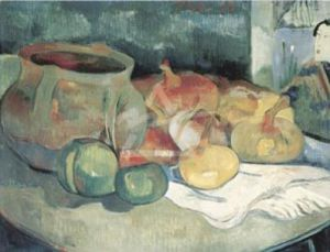 Still Life with Onions, Beetroot, and a Japanese Print by Paul Gauguin