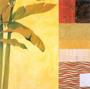Collage with Banana Leaves IV by Julieann Johnson
