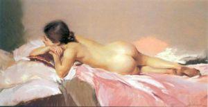 Nude on Pink Satin by Santamans