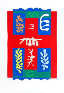Composition croix rouge (Silkscreen print) by Henri Matisse