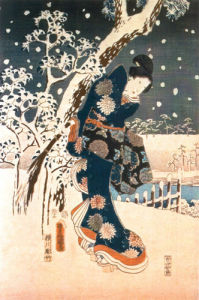 Snow Scene in the Garden of a Daimyo by Ando Hiroshige