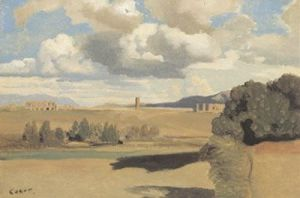 The Roman Campagna, with the Claudian Aqueduct by Jean-Baptiste-Camille Corot