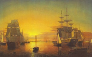 Boston Harbor, about 1850-55 by Fitz Hugh Lane