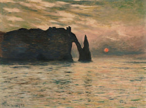 The Cliff, Etretat, Sunset, 1883 by Claude Monet