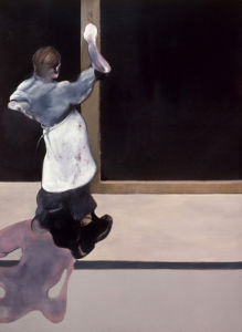 Triptych 1974 left section by Francis Bacon