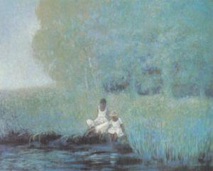 Mädchen am Teich by Heide Dahl