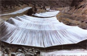 Over the River III Above by Javacheff Christo