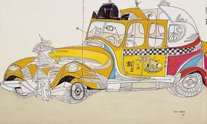 Taxi by Saul Steinberg