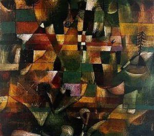 Landschaft mit gelbem Kirchturm by Paul Klee