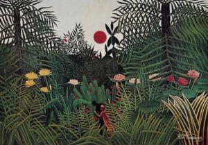 Jungle Sunset by Henri Rousseau