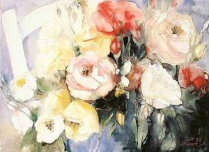 Stuhl mit Rosen by Gisela Maack
