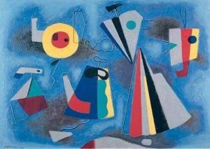 Formen auf blauem Grund by Willi Baumeister