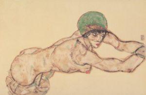 Frauenakt nach rechts by Egon Schiele