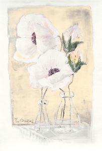 Weiße Blüten auf Gelb (2000) by Annelies Burgin