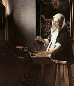 Woman holding a balance, 1664 by Johannes Vermeer