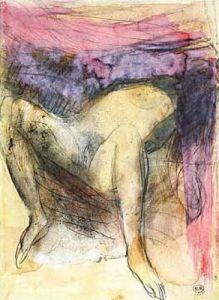 Femme nue de dos, agenouillées et les main sur by Auguste Rodin