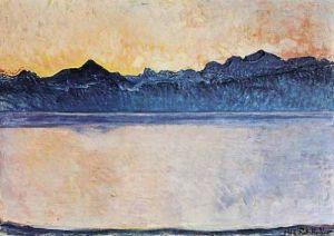 Genfersee mit Mont-Blanc im Morgenlicht, 1918 by Ferdinand Hodler