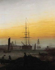 Der Greifswalder Hafen by Caspar David Friedrich