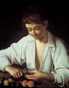 Boy Peeling Fruit by Michelangelo Merisi da Caravaggio
