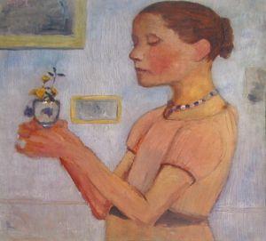 Junges Mädchen mit gelben Blumen im Glas by Paula Modersohn-Becker
