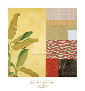 Collage with Banana Leaves II (gold foil stamped) by Julieann Johnson
