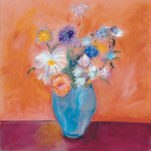 Blue Vase with Flowers by Nancy Ortenstone