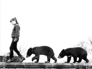 Two bear cubs following a girl by John Drysdale