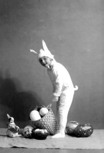 Child dressed as Easter Bunny by Anonymous