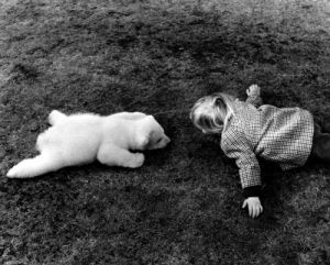 Little bear and girl by John Drysdale