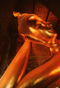 Reclining gold Buddha by Heinz Krimmer
