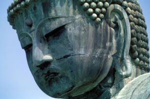 Head of Buddha statue, Kamakura, Japan by Roland Marske