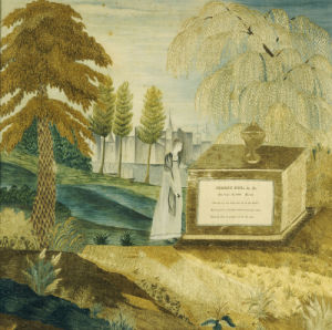 Needlework Depicting A Mourning Woman By The Tombstone Of Joseph Fox by American School