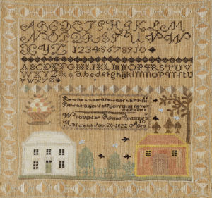 Silk-On-Linen Needlework Sampler. Hardwick, Massachusetts by Relief Shumway