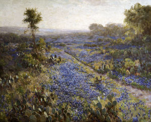Field Of Texas Bluebonnets And Prickly Pear Cacti by Julian Onderdonk