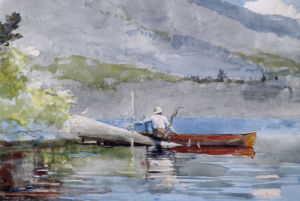 The Red Canoe by Winslow Homer
