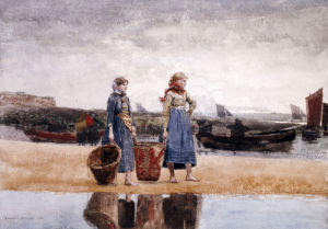 Two Girls On The Beach, Tynemouth by Winslow Homer