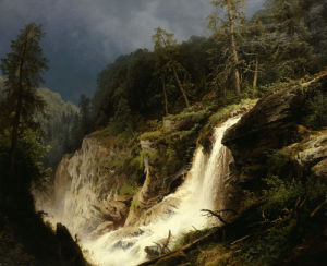 Western Waterfall by Hermann Herzog