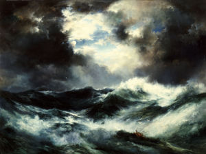 Moonlit Shipwreck At Sea by Thomas Moran
