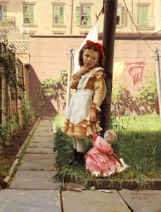 Young Girl In A New York Garden by John George Brown