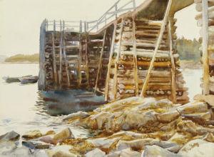 Wharf At Ironbound by John Singer Sargent