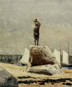 Boy Hailing Schooners by Winslow Homer
