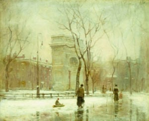 Winter In Washington Square by Paul Cornoyer