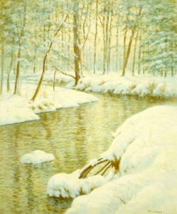 Winter Stream, Sunset Glow by Walter Launt Palmer