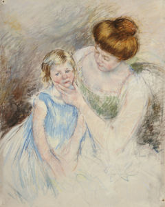 Mother With Left Hand Holding Sara's Chin by Mary Cassatt