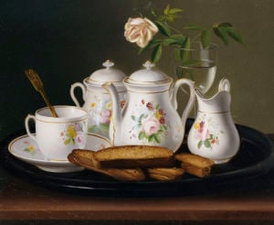 Still Life Of Porcelain And Biscuits, 1872 by George Forster