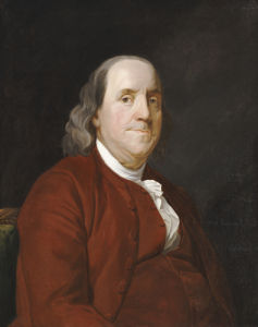 Portrait Of Benjamin Franklin, 1782. by Joseph Wright Of Derby