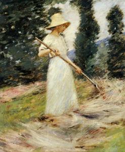 Girl Raking Hay by Theodore Robinson