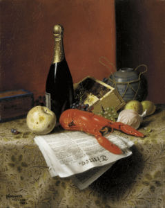 Still Life with Lobster, Fruit, Champagne & Newspaper by William Michael Harnett