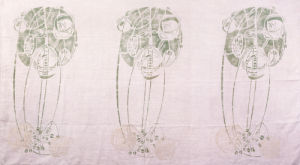 Three Stylised Rose Motifs in Green and Cream by Charles Rennie Mackintosh